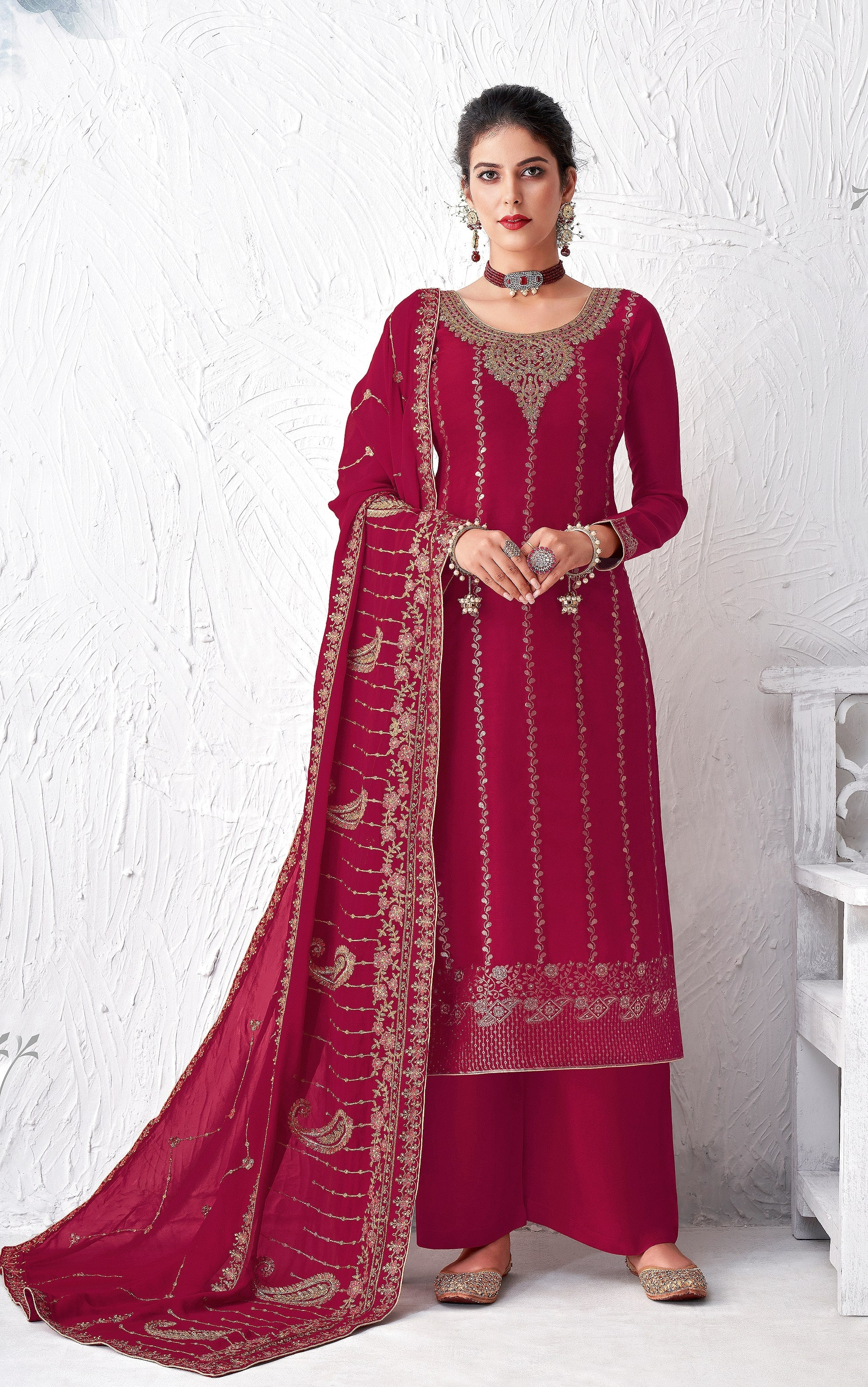 Burgundy Designer Embroidered Silk Party Wear Palazzo Suit-Saira's Boutique