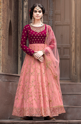 Mustard Olive Designer Heavy Embroidered Wedding Anarkali Suit