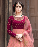 Burgundy Pink & Peach Designer Embroidered Party Wear Anarkali Suit-Saira's Boutique