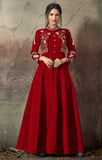 Burnt Red Designer Embroidered Taffeta Silk Party Wear Gown-Saira's Boutique