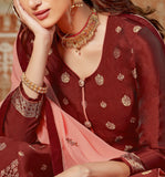 Burnt Red & Peach Designer Embroidered Jacquard Kurti Style Lehenga-Saira's Boutique