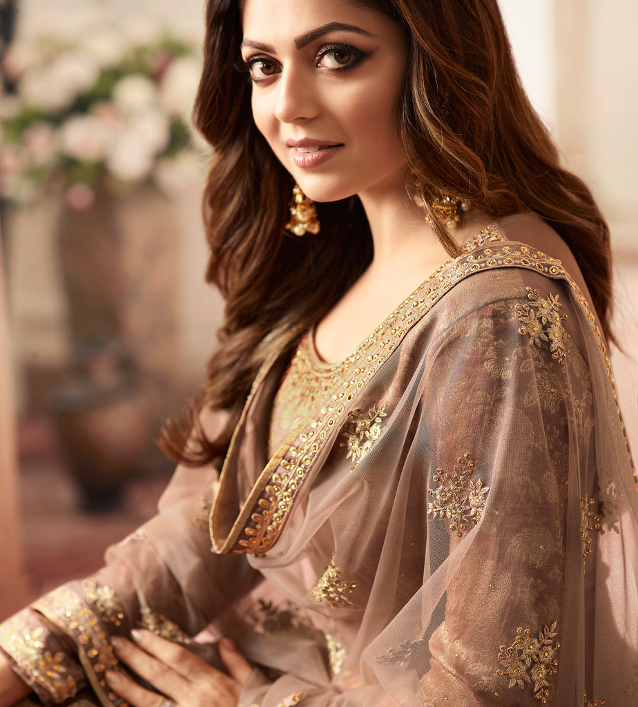 Camel Brown Designer Embroidered Jacquard Sharara Suit-Saira's Boutique