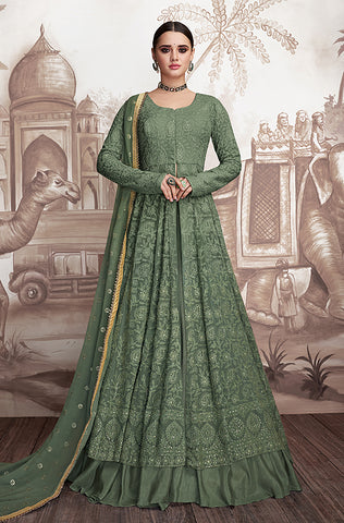 Deep Taupe Designer Heavy Embroidered Net Anarkali Suit