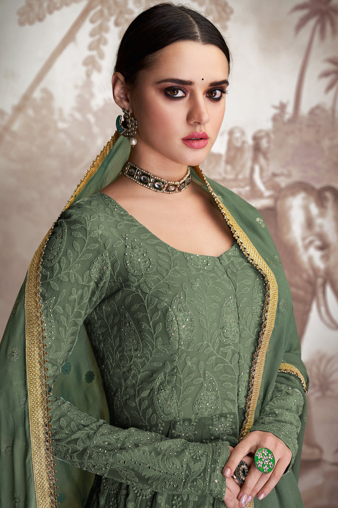Camouflage Green Designer Embroidered Lehenga Style Anarkali Suit-Saira's Boutique