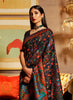 Charcoal Black Multicolor Designer Embroidered Silk Wedding Saree-Saira's Boutique