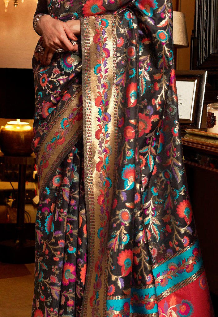 Charcoal Brown Multicolor Designer Embroidered Silk Wedding Saree-Saira's Boutique