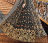 Charcoal Gray Designer Heavy Embroidered Net Bridal Anarkali Gown-Saira's Boutique