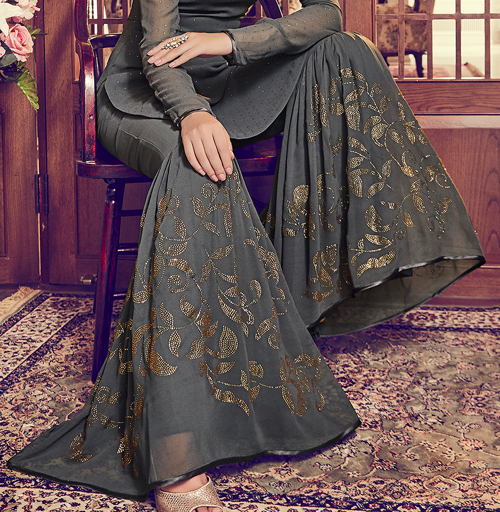 Charcoal Gray Designer Embroidered Georgette Gharara Suit-Saira's Boutique