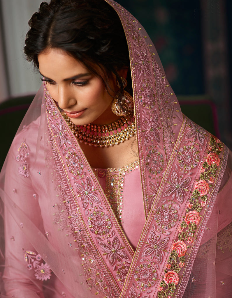 Charm Pink Designer Embroidered Wedding Silk Pant Suit-Saira's Boutique