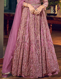Charm Pink Designer Heavy Embroidered Net Wedding Anarkali Gown-Saira's Boutique