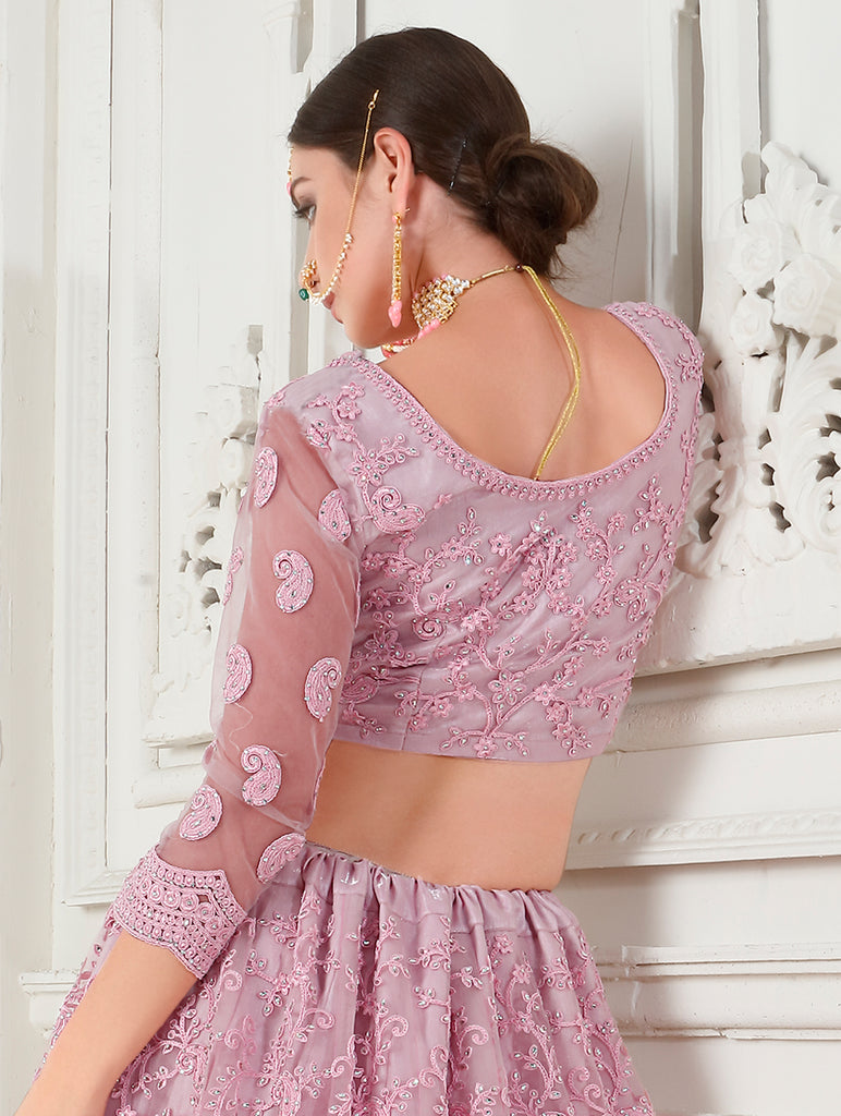 Cherry Blossom Pink Designer Heavy Embroidered Bridal Lehenga-Saira's Boutique