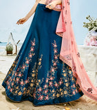 Cobalt Blue & Light Peach Designer Heavy Embroidered Silk Lehenga-Saira's Boutique