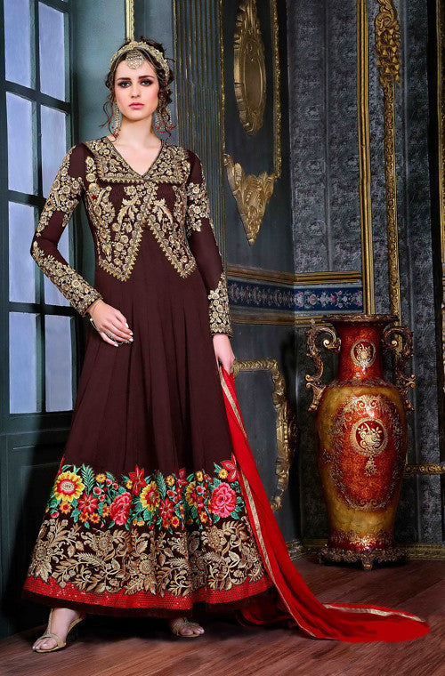 Coffee Brown Designer Embroidered Georgette Anarkali Suit