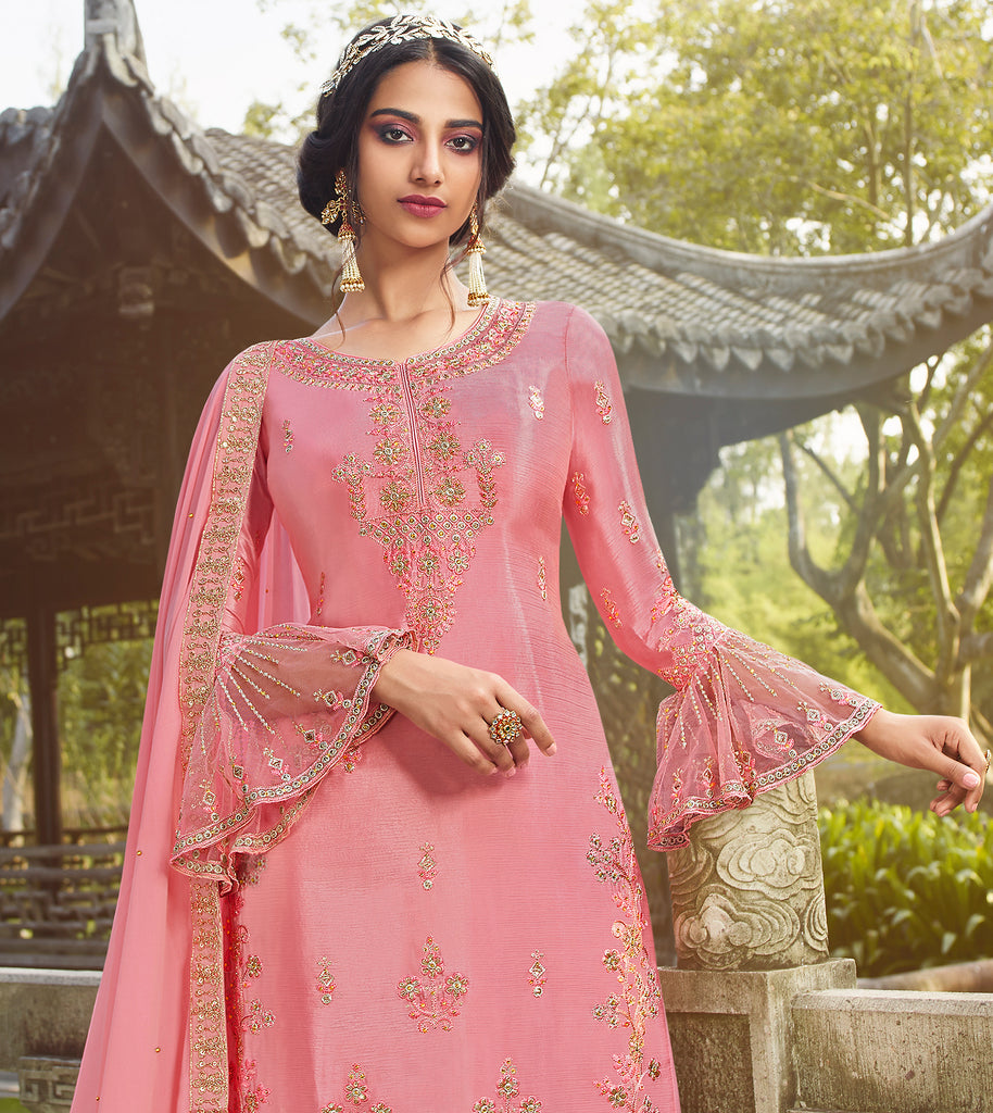 Coral Pink Designer Embroidered Party Wear Palazzo Suit-Saira's Boutique