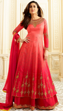 Coral Red Designer Embroidered Lehenga Style Anarkali Suit