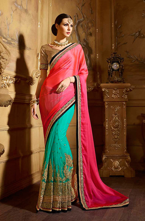 Coral Pink & Aqua Green Designer Embroidered Party Wear Saree