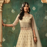 Cream Beige Designer Embroidered Net Lehenga Style Anarkali Suit-Saira's Boutique