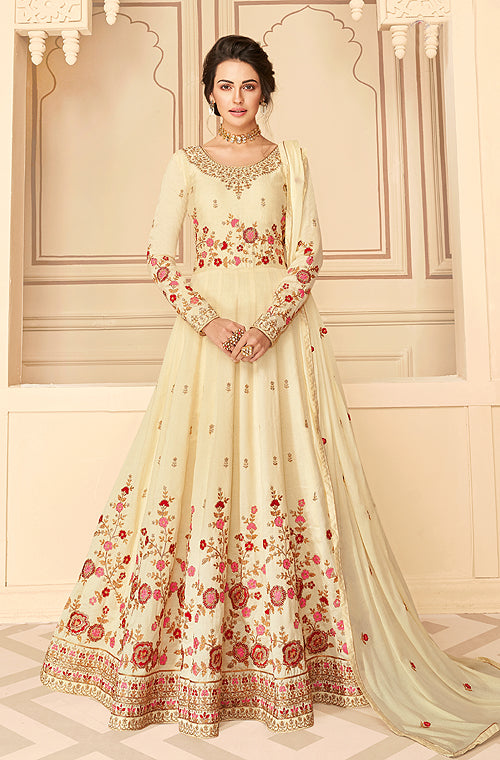 Cream Designer Embroidered Floor Length Silk Anarkali Suit-Saira's Boutique