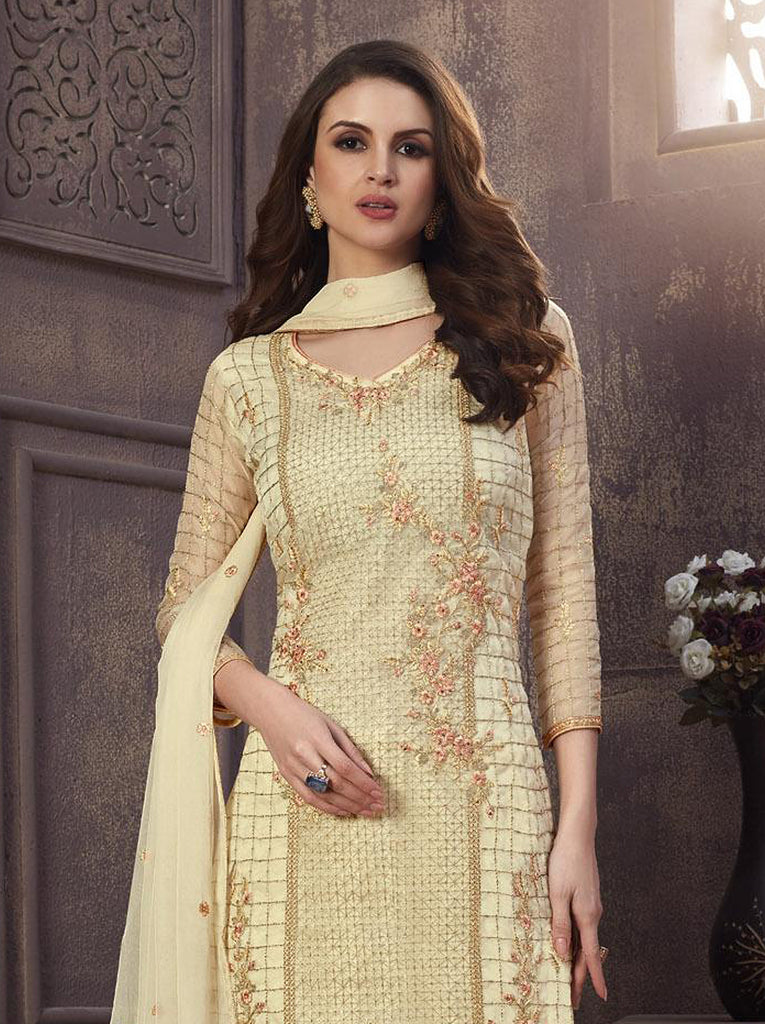 Cream Designer Embroidered Organza Party Wear Pant Suit-Saira's Boutique
