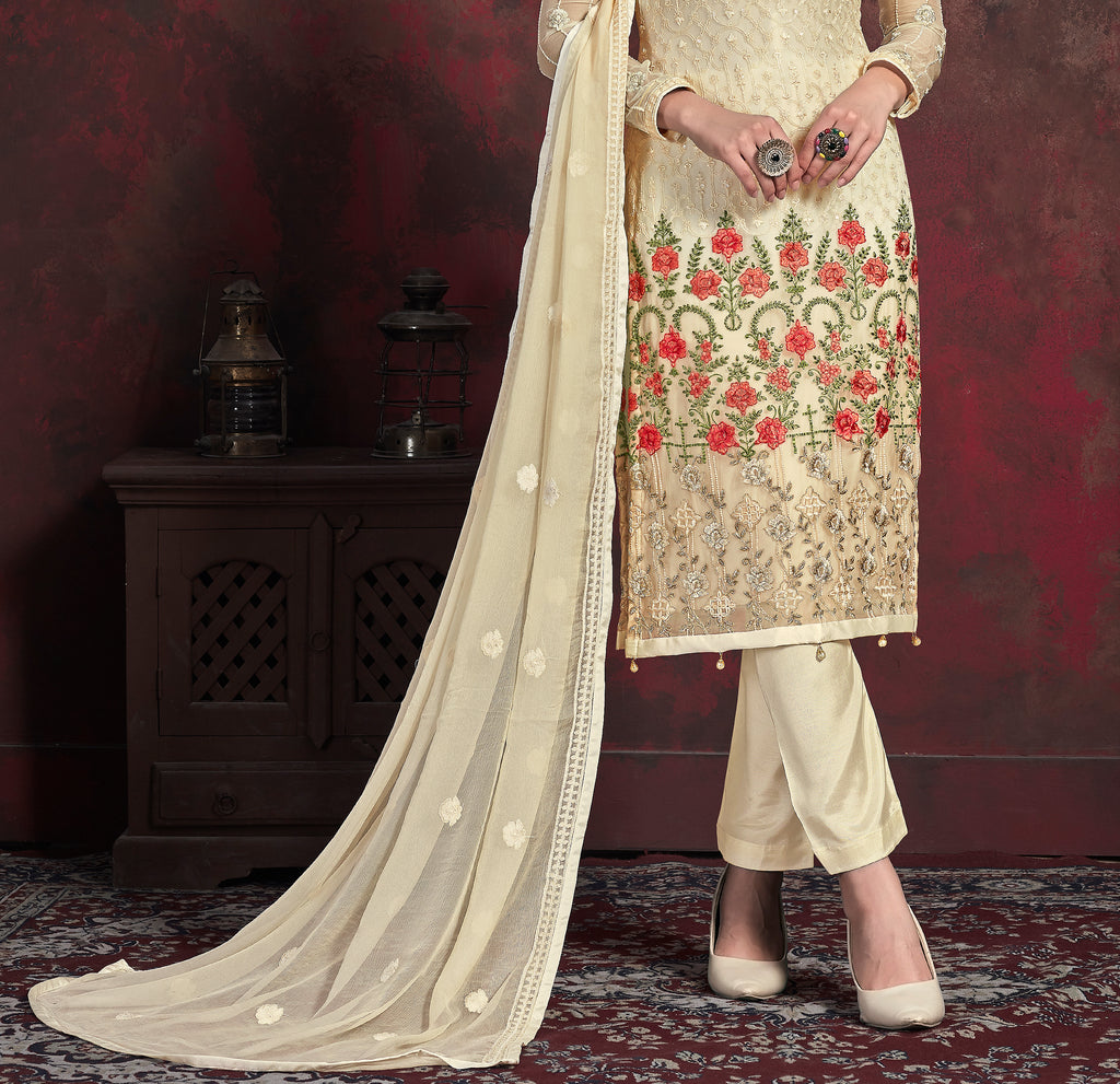 Cream & Beige Orange Designer Embroidered Chiffon Party Wear Pant Suit-Saira's Boutique