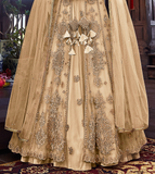 Cream Beige Designer Embroidered Satin Bridal Anarkali Gown-Saira's Boutique
