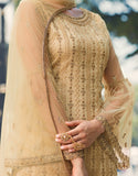 Cream Beige Designer Heavy Embroidered Net Gharara Suit-Saira's Boutique