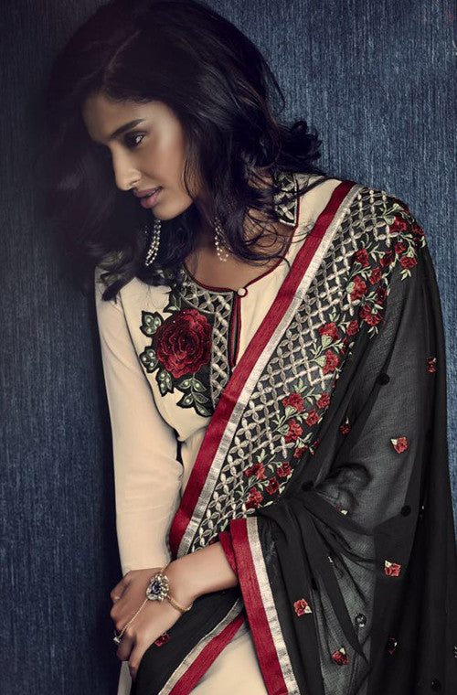 Cream & Black Designer Embroidered Churidar Suit - Saira's Boutique - 2