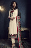 Cream & Black Designer Embroidered Churidar Suit - Saira's Boutique - 1
