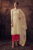 Cream & Crimson Pink Designer Embroidered Jacquard Pant Suit-Saira's Boutique
