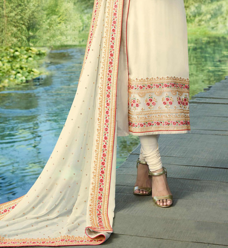 Cream Designer Embroidered Satin Georgette Churidar Suit