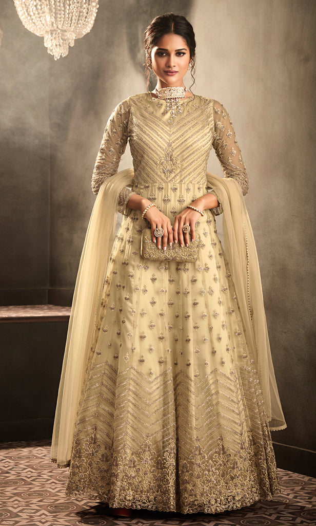 Cream Designer Heavy Embroidered Net Wedding Anarkali Gown-Saira's Boutique