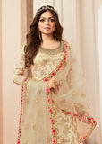 Cream & Gold Designer Embroidered Jacquard Sharara Suit-Saira's Boutique