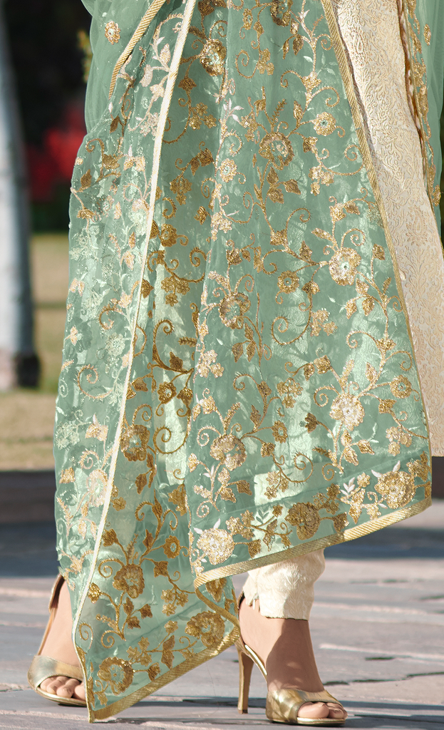 Cream & Green Designer Embroidered Jacquard Churidar Suit-Saira's Boutique