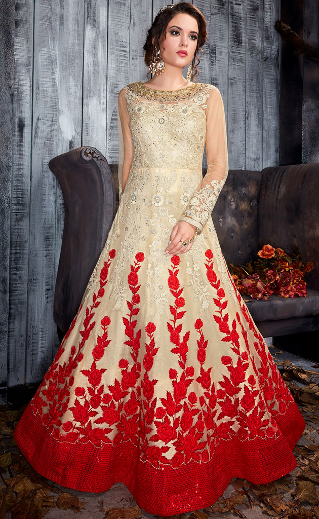 Cream & Red Designer Heavy Embroidered Net Wedding Gown-Saira's Boutique