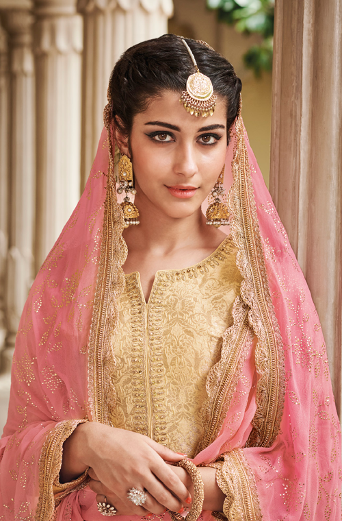 Cream Yellow & Pink Designer Embroidered Silk Jacquard Gharara Suit