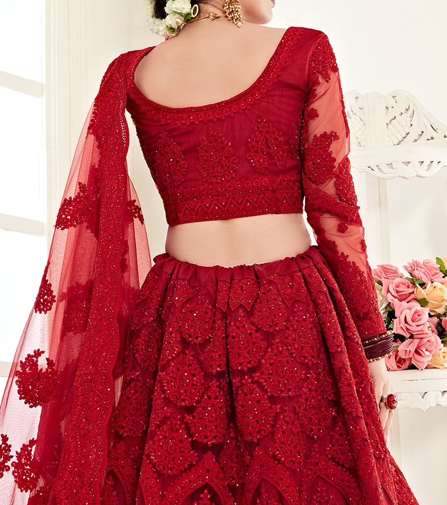Crimson Red Designer Heavy Embroidered Bridal Lehenga-Saira's Boutique