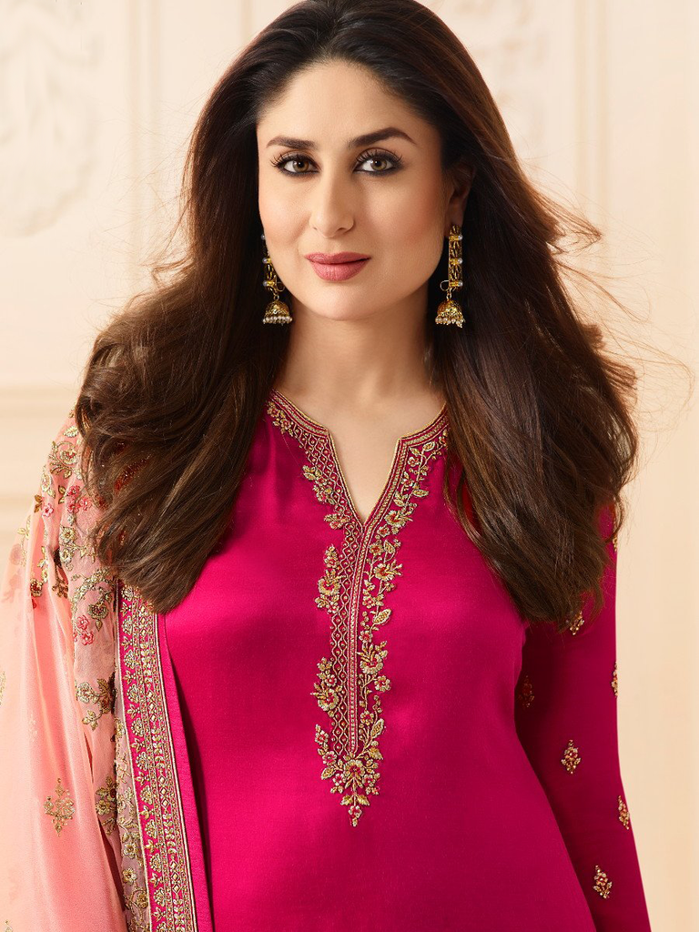 Crimson Pink Designer Embroidered Crepe Churidar Suit