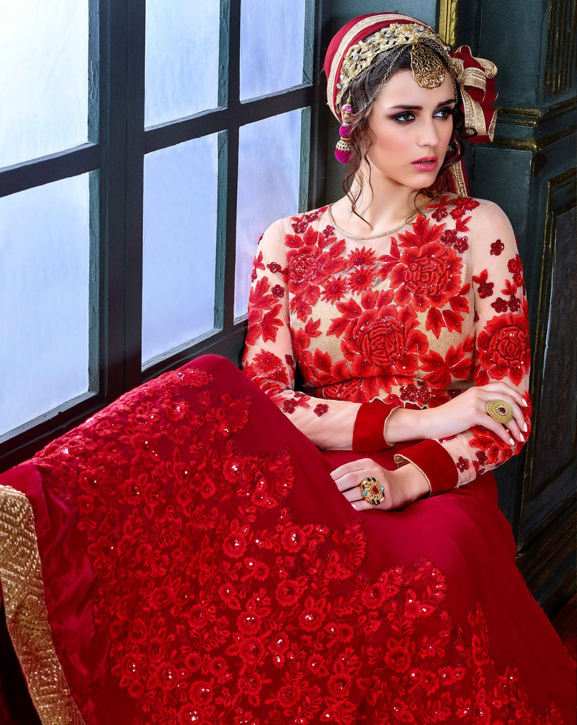 Crimson Red Designer Embroidered Georgette Anarkali Suit