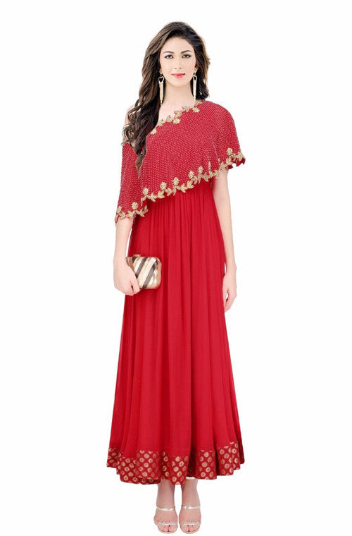 Crimson Red Embroidered Designer Evening Gown