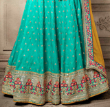 Cyan Blue & Mustard Yellow Designer Heavy Embroidered Silk Wedding Lehenga-Saira's Boutique