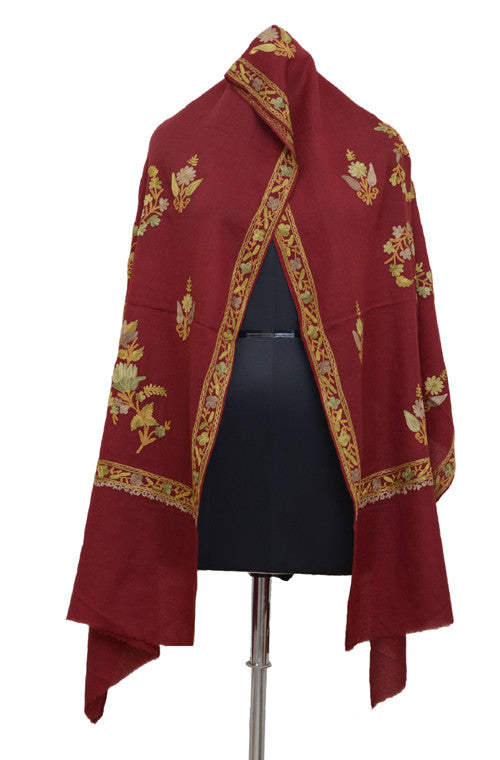 Maroon Pure Pashmina Hand Embroidered Kashmiri Shawl - Saira's Boutique - 3