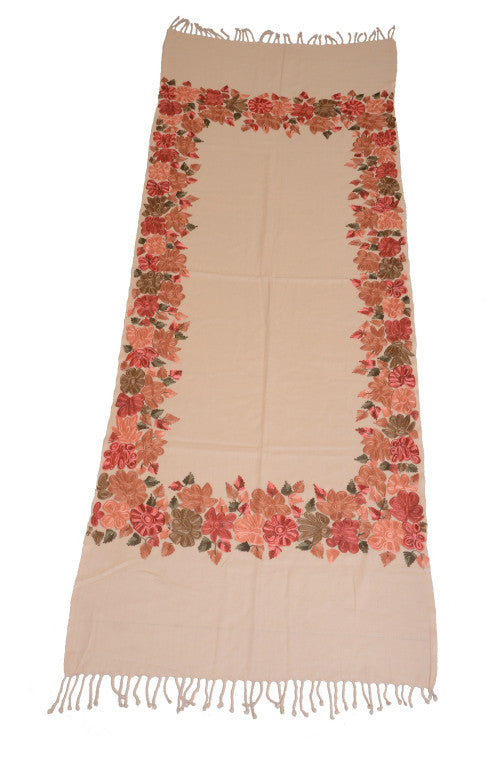 Peach Pure Pashmina Hand Embroidered Kashmiri Shawl - Saira's Boutique - 2