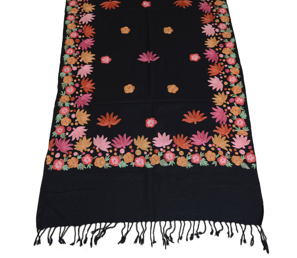 be4b64b003 ... Black Pure Pashmina Hand Embroidered Kashmiri Shawl-Saira's Boutique ...