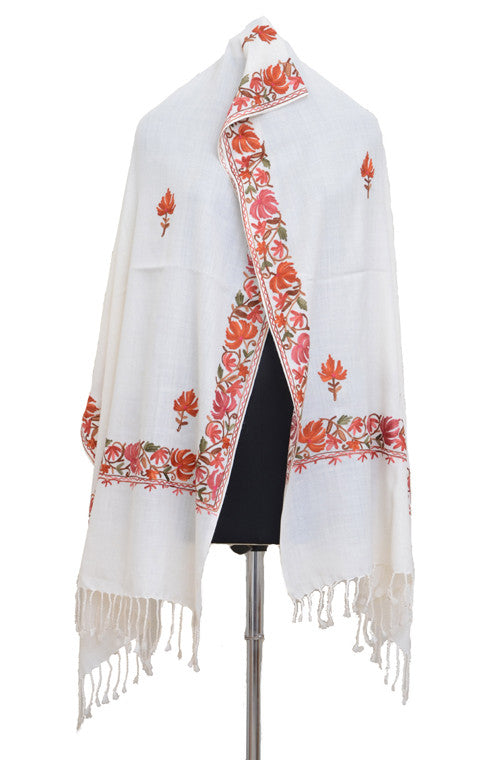 Gorgeous White Pure Pashmina Hand Embroidered Kashmiri Shawl - Saira's Boutique - 4