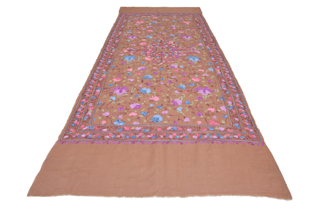 Brown Pure Pashmina Hand Embroidered Kashmiri Shawl-Saira's Boutique