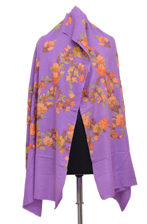 Lavender Pure Pashmina Hand Embroidered Kashmiri Shawl - Saira's Boutique - 4