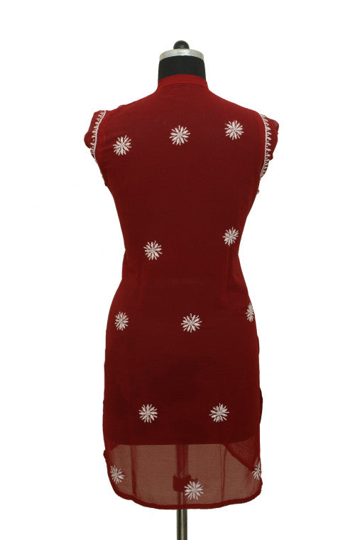 Red Short Georgette Kurti with Chikankari Embroidery-Saira's Boutique