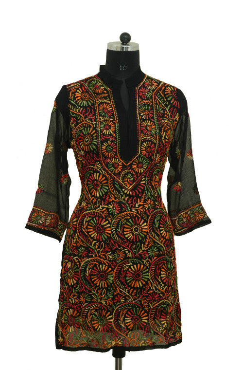 Black Short Georgette Kurti with Multicolor Chikankari Embroidery-Saira's Boutique