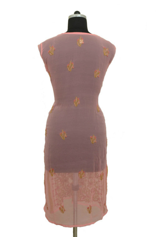 Pink Long Georgette Kurti with Chikankari Embroidery-Saira's Boutique