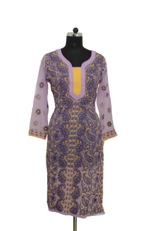 Lavender Long Georgette Kurti with Chikankari Embroidery - Saira's Boutique - 1
